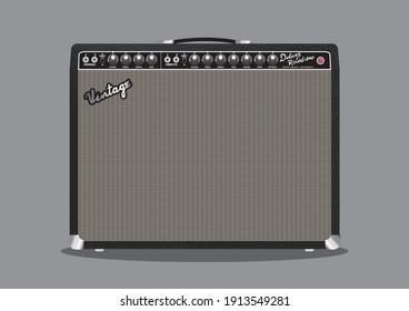 Vintage electric guitar amplifier vector