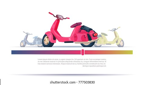 Vintage Electric Scooter Red Isolated Over Template Background With Copy Space Flat Vector Illustration