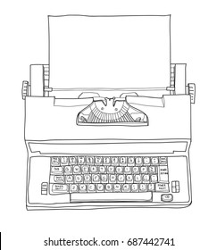 Vintage Electric Typewriter Royal Academy Typewriter with paper hand drawn cute line art vector illustration