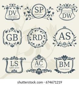 Vintage elegance wedding monograms with floral frames. Vector stock. Floral monogram frame logo with letter illustration