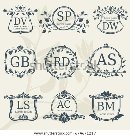 vintage elegance wedding monograms with floral frames vector stock floral monogram frame logo with
