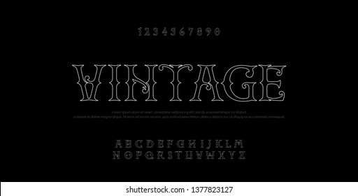 Vintage elegant alphabet thin line letters sans serif fonts set. Exclusive old lettering typography font classic style. Vector illustration