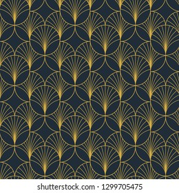 Vintage elegant Art Deco style seamless  pattern with golden motifs on dark blue background. Geometric abstract texture vector pattern.