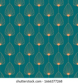 Vintage elegant Art Deco style seamless pattern with copper floral/fan shape motifs on dark green background. Orange and teal colored art deco repeat vector pattern.