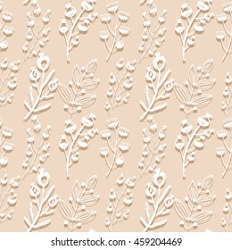 Vintage elegant background with flowers and herbs .Seamless vector textures.Texture for wallpaper, web page background, fabric and wrapping paper design. Vector illustration