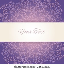 Vintage elegant baroque background with floral ornate decoration and cutout ribbon. Paper cut 3d element. Luxury design template for wedding invitation or greeting card. Vector illustration.