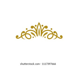 Vintage Elegant Gold Tiara Logo Illustration In Isolated White Background