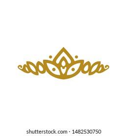 vintage elegant gold tiara logo illustration template design vector in isolated white background