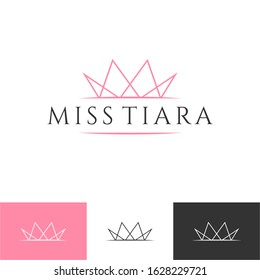 Vintage Elegant Gold Tiara Logo symbol. Luxury geometric royal logotype sign mark. Abstract beauty care facial fashion makeup skin care cosmetic icon vector design