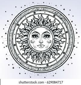 Vintage elegant hand-draw work of  sun, sky, stars. Sacred Geometry,  Esoteric Philosophies, religion philosophy, spirituality, occultism, science, magic, tattoo, art. Vector illustration.