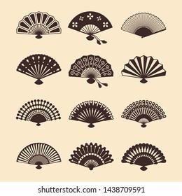 Vintage elegant oriental fans of set vector silhouettes. Oriental fan chinese, decoration japanese souvenir illustration