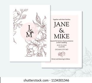 Vintage elegant wedding invitation card template with vector peony and roses. Botanical drawing sketch. Engraved bouquet with leaves and berries. Save the date template, anniversary card design