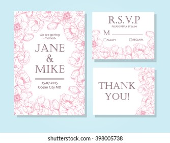 Vintage elegant wedding invitation card template set with anemone flower frame. Detailed botanical engraved vector illustration. Wedding invitation or save the date card, RSVP, thank you card.