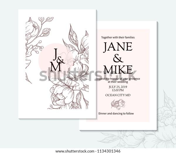 Vintage Elegant Wedding Invitation Card Template Stock
