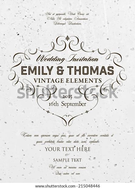 Vintage Elegant Wedding Invitation Concrete Wall Stock Vector