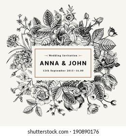 Vintage elegant wedding invitation with summer flowers. Black and white vector illustration.