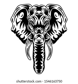 Vintage elephant face. Heading vintage style Isolated on a white background. Design element for logo, badge, tattoo, t-shirt, banner, poster.