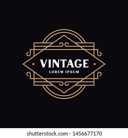 Vintage Emblem Design for Logo, Label, Frame, Product Tags. Retro, Classic, Royal, Luxury Badge Design. Design Elements for Cafe, Restaurant, Hotel, Fashion, Wine. Vector.