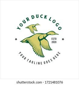 Vintage Emblem Flying Ducks Mallard Swan Goose Logo Design