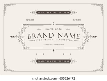 Vintage emblem frame with retro ornament. Old label template. A4 title page cover design. Eps10 vector illustration for placards, posters, banners, flyers, brochures and certificates.