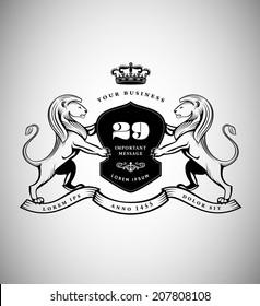 Vintage Emblem with Lions. Heraldic Logo Design