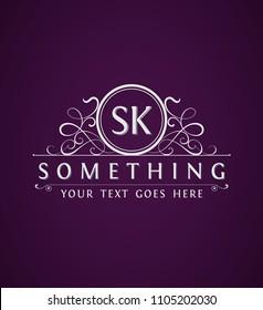 Vintage Emblem. Logo Template. Monogram with letters SK. Vector illustration