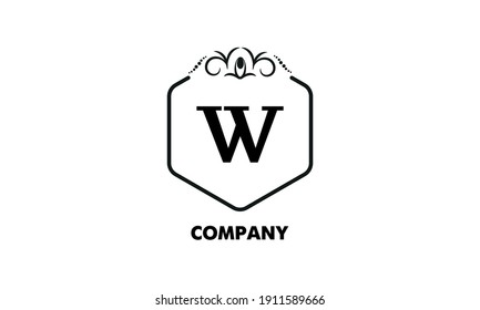 Vintage emblem. Luxury logo template. Monogram with the letter W is good for a fashion boutique, hotel brand, business.