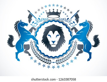Vintage emblem made in vector heraldic design and created using graceful horses and wild lion illustration, royal crown and laurel wreath