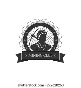 Vintage emblem of the mining industry,miner holding a pickax on a background of the sunburst, label and badge mine shaft, black and white  vector illustration