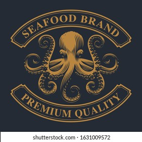 Vintage emblem with an octopus for seafood theme. Perfect for logos, badges, labels and many other uses.