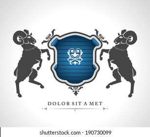 Vintage emblem with rams with a place for Your text