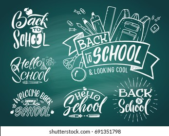 Vintage emblem set for school and university. Welcome to school. Vector hand writing words