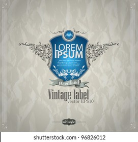 Vintage emblem with shield. Abstract background