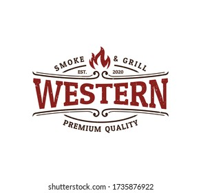 vintage emblem western restaurant logo design