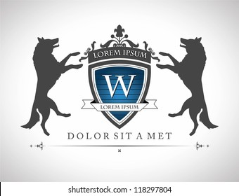 Vintage emblem with wolfs , with a place for Your text
