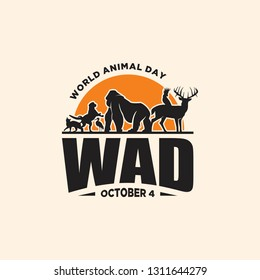 Vintage emblem World Animal Day with graphic animals and sunset. The concept of an ecological holiday. Vector illustration EPS.8 EPS.10