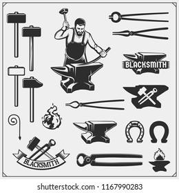 Vintage emblems for forge. Blacksmith labels, badges and design elements. Vector illustration.