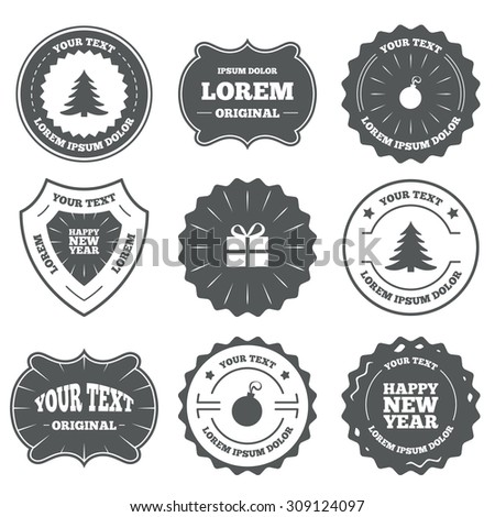 vintage emblems labels happy new year icon christmas tree and gift box sign