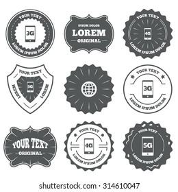 Vintage emblems, labels. Mobile telecommunications icons. 3G, 4G and 5G technology symbols. World globe sign. Design elements. Vector