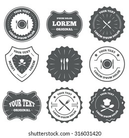 Vintage emblems, labels. Plate dish with forks and knifes icons. Chief hat sign. Crosswise cutlery symbol. Dining etiquette. Design elements. Vector