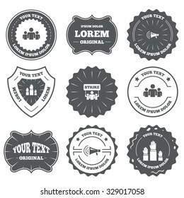 Vintage emblems, labels. Strike group of people icon. Megaphone loudspeaker sign. Election or voting symbol. Hands raised up. Design elements. Vector