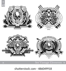 Vintage emblems with skull front view in center of floral pattern and weapon. Set vector heraldic element for design or t-shirt print on white