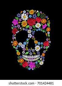 Vintage embroidered flower skull. Muertos Dead Day Fashion design decoration print. Orange marigold daisy chamomile beautiful isolated on black background. Greeting invitation vector illustration