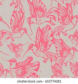 Vintage engraved hummingbirds (colibri bird) seamless pattern