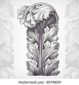 vintage engraving acanthus ornament foliage with retro pattern in antique rococo style decorative design