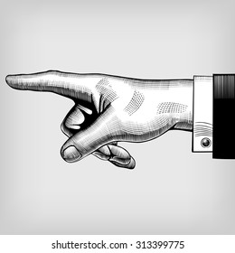 Vintage engraving drawing of pointing hand. Vector illustration