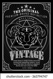 Vintage engraving frame border western label antique tiger hand drawn retro vector illustration