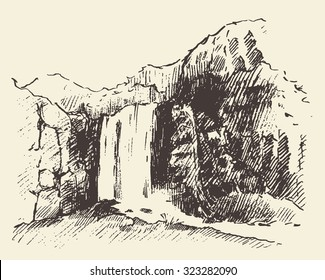 Vintage engraving illustration of beautiful waterfall, hand drawn