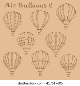 Vintage engraving sketch illustration of hot air balloons in flight with inflated envelopes. Great for retro air traveling and airship theme or leisure activity design