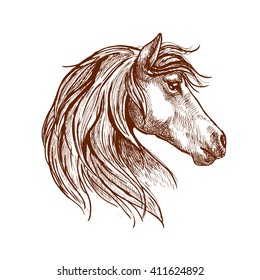 Vintage engraving sketch of wild mare head with silky mane blowing in the wind. Use as nature mascot, equestrian club or horse show design